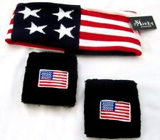American Flag Headband and Black with American Flags Pair of Sweatbands-New!!