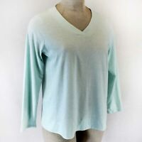 Pure Jill J.Jill  Plus Light Blue Cotton Long Sleeve V- Neck Tee Top Shirt 3X