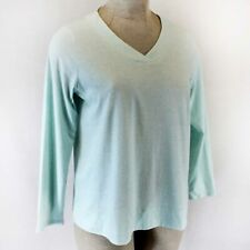 Pure Jill J.Jill  Plus Light Blue Cotton Long Sleeve V- Neck Tee Top Shirt 3X