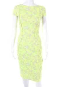 Lela Rose Womens Short Sleeve Bodycon Dress Neon Green Size 10