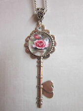 Pink Rose glass cabochon necklace Antique silver key Charm Pendant Vintage gift