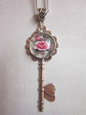 Pink Rose glass cabochon necklace Antique silver key Charm Pendant Vintage gift