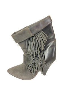 isabel marant hm Fringe Booties Gray Leather Suede Pointy Toe Womens 37/6