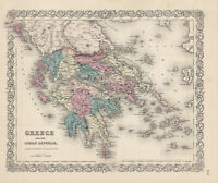"""1860 """"Colton's Greece and the Ionian Republic""""- original steel-plate engraving,"""