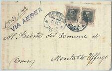 72022 - ERITREA  - Storia Postale: Sassone 128*2  su BUSTA da DESSIE 1940