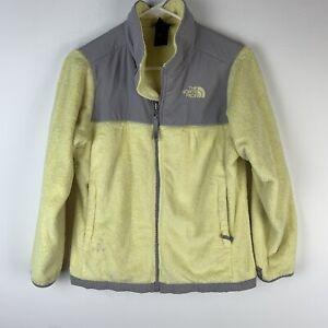 North Face Girls Size L 14/16 Denali Fleece Full Zippered Jacket Yellow Gray