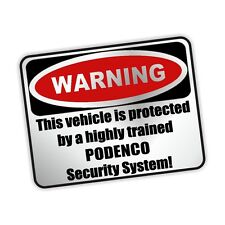Auto Aufkleber SILBER Warning PODENCO Security Warnaufkleber Siviwonder