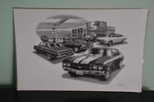 """Thom SanSoucie 1964-70 Chevelle's Flashback Black & White Print 11""""x17"""" # 1206"""