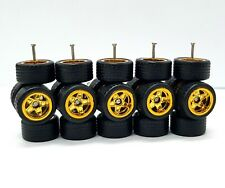 5 sets 5 star small Gold long axle fit 1:64 hot wheels rubber tires size 10mm