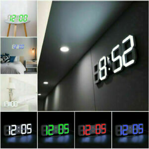 Large LCD 3D Digital LED Wall Desk Clock USB 12/24 Hour Dispaly Alarm Snooze A++