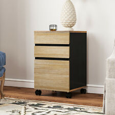 Yitahome Wood File Cabinet Storage Chest 3 Drawer Wood Rolling Office Furniture