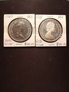 2 - 50% Silver Canadian Dollars  1980, 1981