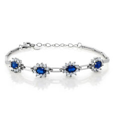 """Stunning 2.00 Ct Simulated Sapphire 925 Silver Bracelet with 1"""" Extender"""