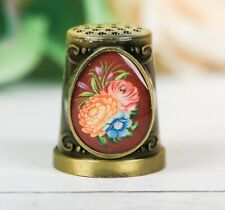Thimble BOUQUET FLOWER EASTER Pattern Solid Brass Metal Russian Collection
