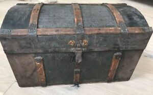 Antique Victorian Hump Back Punched Metal Steam Trunk Young Lady's