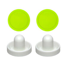 2 Fluorescent White Goalies with 2 Large Green Air Hockey Pucks