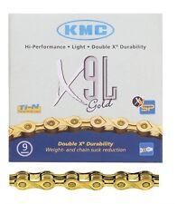 Kmc X9L Chains  - 9Sp - 1/2X3/32 - 116Lbushls - Db/Xb/Xsp/Sl - Gold - 267G