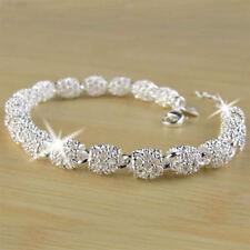9603 Women's 925 Silver Charm Chain Bangle Bracelet Wedding Fashion Jewelry Gift