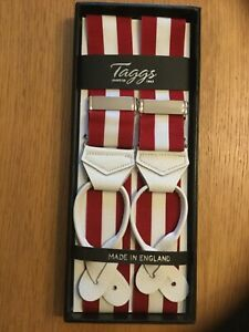 TAGGS PREMIUM RED/WHITE RIGID STRIPE LEATHER END BRACES