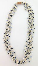 .SUPERB MULTI STRAND LAPIS LAZULI & PEARL NECKLACE W 14CT GOLD CLASP VAL $2250