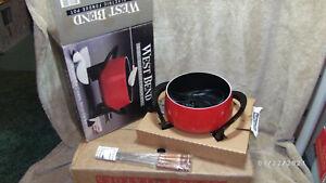 NOS West Bend 2 Quart Electric Fondue Pot Red Enamel 4 Forks Temperature Control