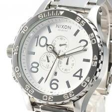 New NIXON Watch 51-30 CHRONO Highpolish Silver White A083-488 A083488