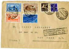 Italy Transport Air Mail Cover 1943 6 Stamps Italy to Ny Scarce