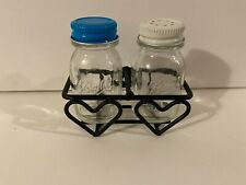Vintage Ball Mason Jar Glass Mini Salt Pepper Set With Heart Rack- RARE & Cute