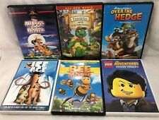 6 Children's Movies Used DVD Ice Age Lego Bee Movie Franklin All Dogs Over Hedge