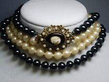 Double Strand Faux Hematite & Simulated Pearl Necklace~Fancy Cameo Enhancer