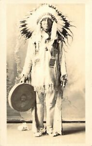 c1920 RPPC Charlie Eagle Staff, Mandan, ND.  Notes on back about dance/dancers