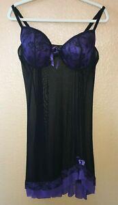 Womens Sexy Lingerie Lace Babydoll Floral Mesh Black Purple Mini Dress 3XL NWOT