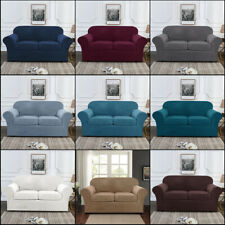 Velvet Plush 3 Piece Stretch Sofa Covers for 2 Cushion Couch Loveseat Slipcover