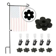 5pcs Garden Flag Pole Stand Stoppers Rubber Stops Adjustable Anti-wind Clips Set