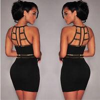 Hot Lady Sexy Black Sleeveless Bodycon Party Club Evening Cocktail Mini Dress