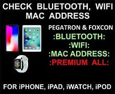 IMEI CHECK APPLE DEVICE IPAD IPHONE IMAC / ADRESS BLUETOOTH & WIFI MAC ADRESSE