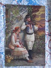 Paar Geige Musiker Illertissen Gemälde Kunstwerk Postkarte Ansichtskarte 3036
