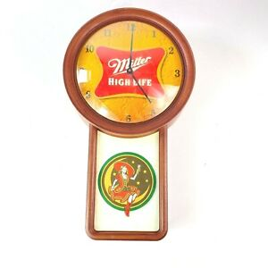 Miller High Life Wall Clock Man Cave Bar Decor Girl On The Moon Beer 21in Tall