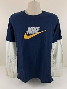 VTG Y2K Nike Dark Blue T Shirt White Long Sleeve Men Size L Large Silver Tag EUC