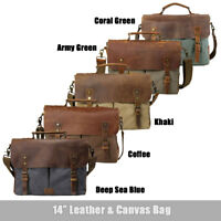 Men's Canvas Leather Briefcase Laptop Cross Body Shoulder Messenger Bag Satchel