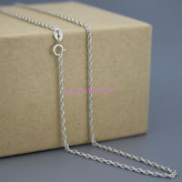 1.7mm 925 Solid Sterling Silver Necklace Snake Twist Rope Chain 16-24 Inches