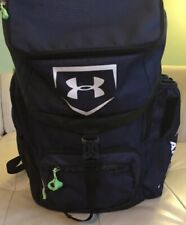 Navy Under Armour Storm Bat Bag W/Heat Gear W/ Lime Green Backpack Zip Off Bag