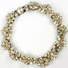 Rousselet Made in France Pearl Flower Clusters Choker Necklace