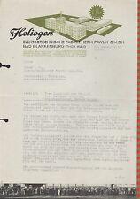 """BAD BLANKENBURG, Brief 1936, """"Heliogen"""" Elektrotechnische Fabrik Herm. Pawlik"""