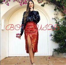 Zara AW18 Women Sequin Skirt Red Size XS NWT