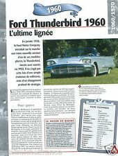 Ford Thunderbird V8 Coupe 2 Places 1960 USA Car Auto Retro FICHE FRANCE