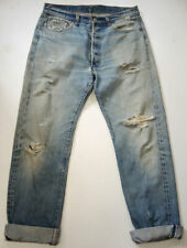 "Vtg 70s Distressed REDLINE Levi's 501 Jeans 36x36 Hige Selvage ""6"" No Big E"