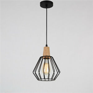 Modern Ceiling Lamp Kitchen Black Chandelier Bar Wood Pendant Lighting LED Light