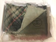 AUTHENTIC CHANEL 100% CASHMERE SHAWL SCARF WRAP PLAID TARTAN Made in ITALY Large