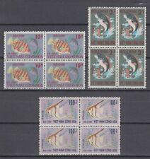 South Vietnam 1971 Full  Set Block x4  Fishes Sc #402/404  MNH Luxe (White Gum)